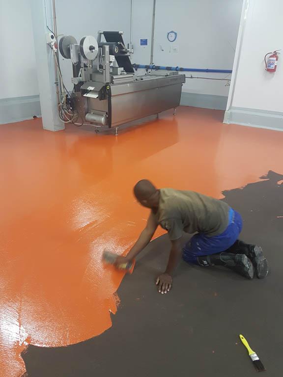 Colour tinted epoxy floor application